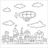Airship over the old town Royalty Free Stock Photography