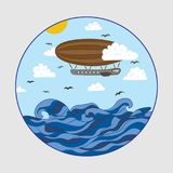 Airship over the sea in the clouds drawing in a circle.  Royalty Free Stock Photo