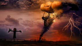 Airship and scarecrow. Halloween scene with scarecrow and amazing airship royalty free illustration