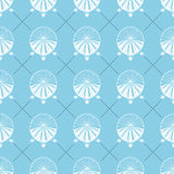 Airship seamless pattern. Retro Dirigible wallpaper design. Old sketching and doodle style. White airships on blue Royalty Free Stock Photo