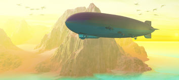 Airship at Sunset Stock Photo