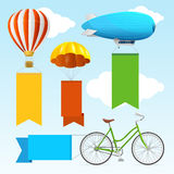 Airship Transport Banners. Vector Stock Image