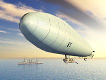 Airship and Warship Royalty Free Stock Photography