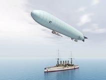 Airship and Warship Royalty Free Stock Photo