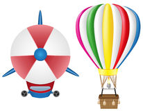 Airship zeppelin and hot air balloon Royalty Free Stock Images