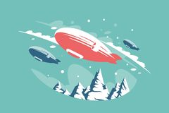 Airships in air above snowy mountains. stock illustration