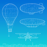 Airships, airplane and air balloon Stock Image
