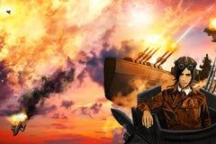The  airships battle. The airships battle, in the style of steampunk anime Stock Photo