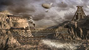 Airships over old mine Royalty Free Stock Photography