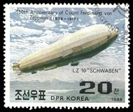 Airships Schwaben. DPR Korea - circa 1988: Stamp printed by DPR Korea, Color edition on topic of Airships, shows dirigible LZ 10 Schwaben, circa 1988 Stock Images