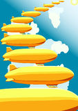Airships, vector illustration. Airships, stairway in the sky, vector illustration Royalty Free Stock Photo