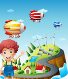 Airships in the village Royalty Free Stock Photos