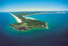 Airshot of Double Island Point at Rainbow Beach, Sunshine Co royalty free stock image