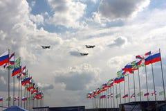 Airshow `100年俄国空军`。 库存照片