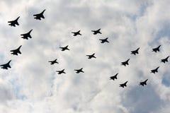 Airshow `100年俄国空军`。 免版税图库摄影