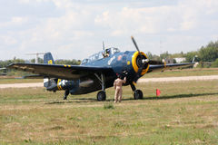 Airshow `100 år rysk flygvapen`. Royaltyfri Fotografi