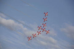 Airshow. Small jets fluying in formation at an airshow in canada Royalty Free Stock Images