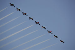 Airshow. Small jets fluying in formation at an airshow in canada Stock Images