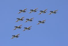 Airshow. Group pilotage at air show royalty free stock photo