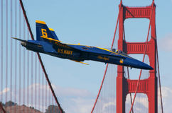 Airshow. SAN FRANCISCO, CA - OCT 6: US Marine Corps Blue Angels demonstration squadron on F18 Hornet jet fighters in the sky over San Francisco during sunday Stock Photography