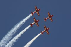 Airshow. Another acrobatic stunt perform  these group during Al Ain International Airshow Royalty Free Stock Photos