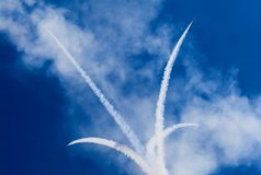 Airshow. Smoke from army jets flying at airshow in Sacramento California Stock Image