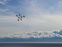 Airshow. Canadian Snowbirds fighter planes flying in formation Stock Images