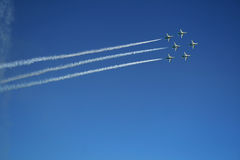 Airshow. Group of six airplanes making formation. UAE royalty free stock photo