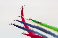 Airshow Aerobatic dos UAE Team Al Fursan Fotografia de Stock