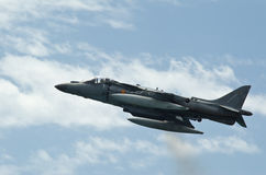 Airshow of the aircraft Harrier AV-B8 Stock Photos