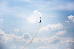 Airshow airplane. Airplane on airshow over blue sky stock photos