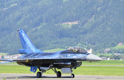 Airshow - Airpower 2011. Zeltweg, Styria, Austria - July 1st 2011: Fighter aircraft F 16 Falcon from Belgian air force by airshow named Airpower 2011 royalty free stock images