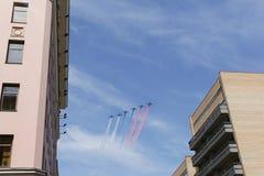 Airshow As cores da bandeira de Rússia Planos entre ho Fotografia de Stock