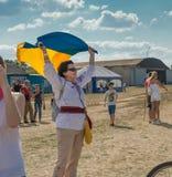 Airshow de observação dos povos no aeródromo de Kharkiv Imagens de Stock Royalty Free