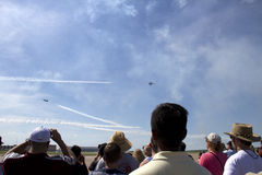 Airshow at Fort Worth TX. People watch Airshow at Fort Worth, TX USA 2016 stock photo