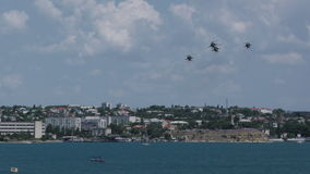 Airshow militar ruso del helicóptero Mi-28N metrajes