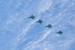 Airshow. Moscow, Russian Federation - May 9, 2015. Group pilotage of the russian aerobatic teams at the airshow during the Victory Day parade Stock Images