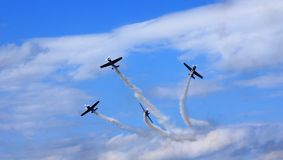 Airshow. Pilots separating from formation Stock Images