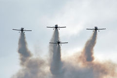 Airshow planes with smoke Royalty Free Stock Photography