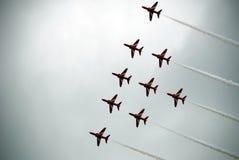 Airshow röda pilar 7 Arkivfoto