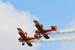Airshow in Scarborough Biplane acrobation. Airshow in Scarborough, Yorkshire England. Biplane acrobation stock photo