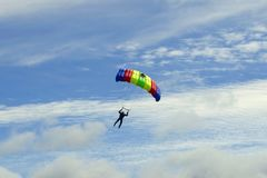 Airshow, skydiver in the sky stock image