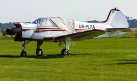 Airshow of small private aircraft on the airfield. Royalty Free Stock Photo