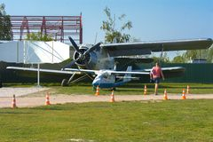 Airshow of small private aircraft on the airfield. Royalty Free Stock Images