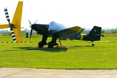 Airshow of small private aircraft on the airfield. Royalty Free Stock Photos