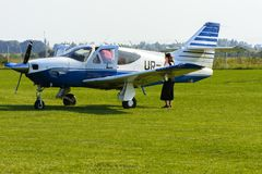 Airshow of small private aircraft on the airfield. Stock Images