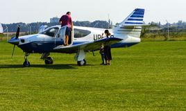 Airshow of small private aircraft on the airfield. Royalty Free Stock Image