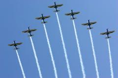 Airshow smoke trails stock photo