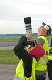 Airshow. Vasteras, Sweden - May 26: A group of unidentified photographer are photographing airplanes at the airshow on May 26, 2013 at Vasteras airport stock photos