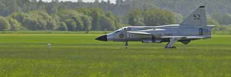 Airshow. Vasteras, Sweden - 26 May: Scandinavian airshow with Saab Viggen AJS 37 at Vasteras airport, Sweden May 26, 2013 royalty free stock photography